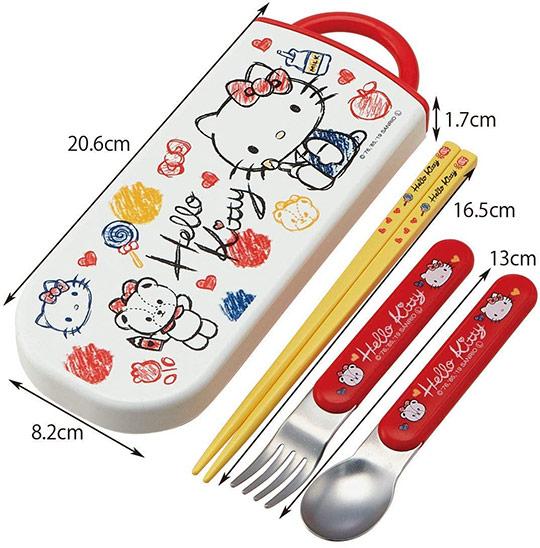 小禮堂 Hello Kitty 日製 滑蓋三件式餐具組 匙筷 叉匙 環保餐具 (紅白 塗鴉)