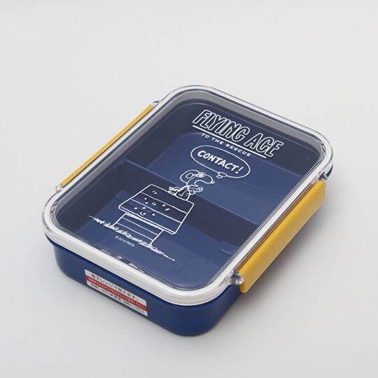 小禮堂 史努比 日製 方形雙扣微波便當盒 塑膠便當盒 保鮮盒 730ml (藍黃 飛行員)