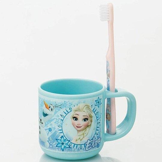 小禮堂 迪士尼 冰雪奇緣 兒童牙刷漱口杯組 旅行牙刷組 附牙刷蓋 3-5歲適用 (藍 圓框)