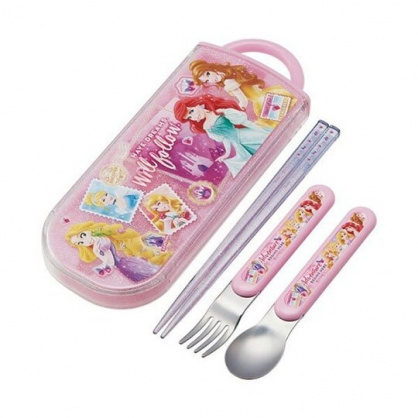 小禮堂 迪士尼 公主 日製滑蓋三件式餐具組《粉紫.照片》叉匙.匙筷.環保餐具.兒童餐具