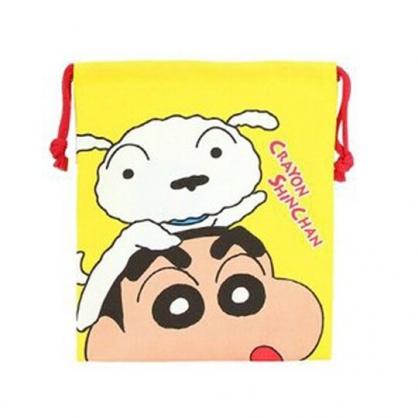 小禮堂 蠟筆小新 日製 棉質束口袋 旅行收納袋 小物收納袋 (黃 趴頭上)