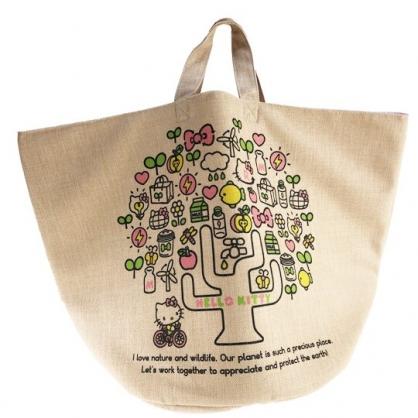 小禮堂 Hello Kitty 橫式麻布側背袋 編織手提袋 購物袋 海灘袋 (棕 家人)
