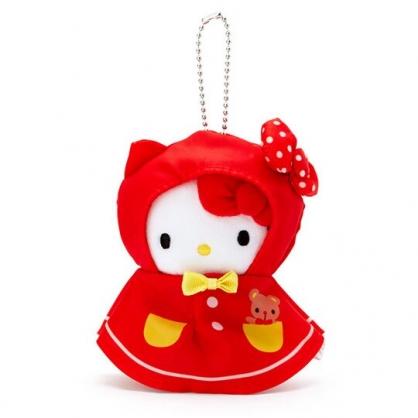 小禮堂 Hello Kitty 晴天娃娃絨毛吊飾 玩偶吊飾 鑰匙圈 可連接 (紅白)