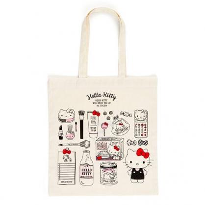 小禮堂 Hello Kitty 日製 直式帆布側背袋 帆布手提袋 書袋 帆布袋 (米黑 插圖)