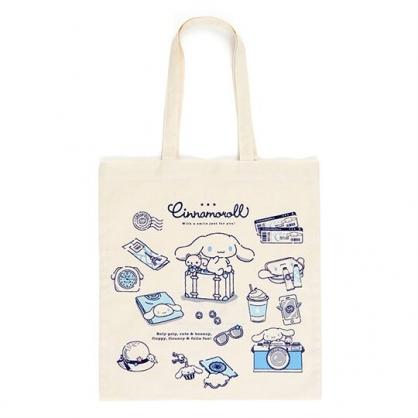 小禮堂 大耳狗 日製 直式帆布側背袋 帆布手提袋 書袋 帆布袋 (米藍 插圖)