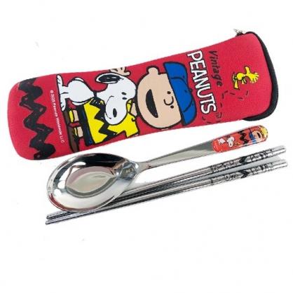 小禮堂 史努比 不鏽鋼匙筷組附餐具袋 環保餐具 兒童餐具 (紅 棒球帽)