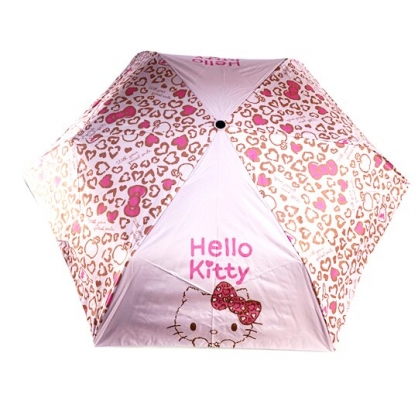 小禮堂 Hello Kitty 抗UV折疊雨陽自動傘 折傘 雨傘 雨陽傘 (粉棕 豹紋)
