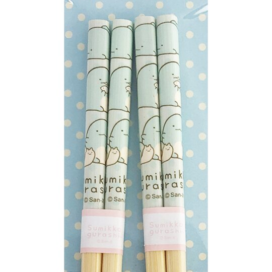 小禮堂 角落生物 恐龍 木筷組 竹筷 環保筷 22.5cm (2入 藍 坐姿)