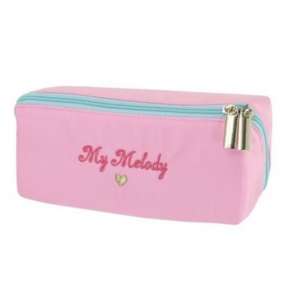 小禮堂 美樂蒂 方形尼龍拉鍊筆袋 鉛筆盒 鉛筆袋 (粉 LOGO)