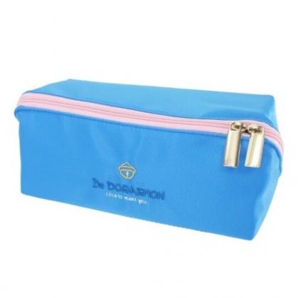 小禮堂 哆啦A夢 方形尼龍拉鍊筆袋 鉛筆盒 鉛筆袋 (藍 LOGO)