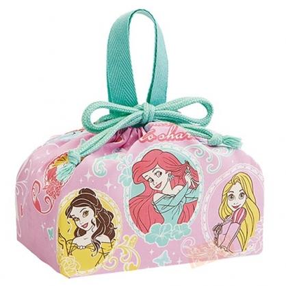 小禮堂 迪士尼 公主 日製 棉質束口便當袋 束口手提袋 小物收納袋 (粉 圓框)