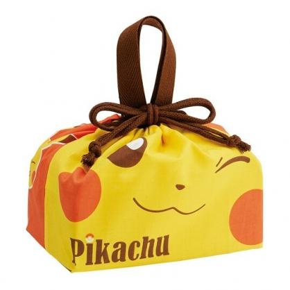 小禮堂 神奇寶貝 日製 棉質束口便當袋 束口手提袋 小物收納袋 (黃 大臉)