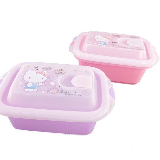 小禮堂 Hello Kitty 日製 輕量型方形塑膠保鮮盒 透明保鮮盒 微波便當盒 500ml (2入 粉紫)