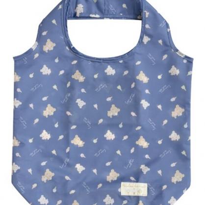 小禮堂 懶懶熊 折疊尼龍環保購物袋 環保袋 側背袋 (藍 冰淇淋)