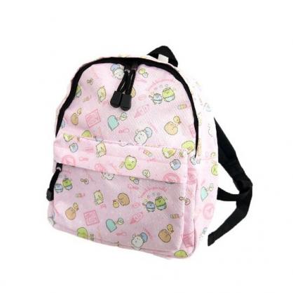 小禮堂 角落生物 兒童尼龍拉鍊後背包 書包 運動背包 (粉 冰淇淋)