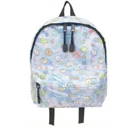小禮堂 角落生物 兒童尼龍拉鍊後背包 書包 運動背包 (藍 貝殼)