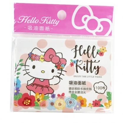 小禮堂 Hello Kitty 隨身吸油面紙 控油面紙 抽取式 100張入 (粉橘 花圈)
