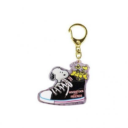 小禮堂 史努比 造型壓克力鑰匙圈 塑膠吊飾 掛飾 (黑紫 帆布鞋)