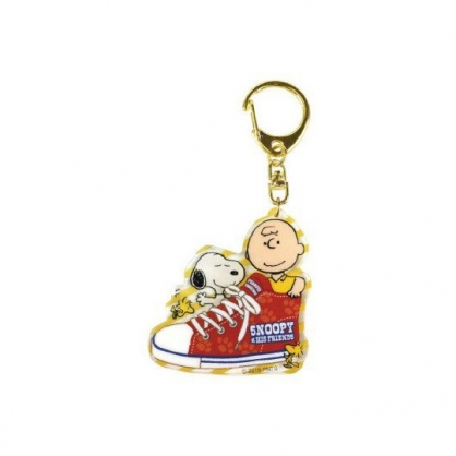 小禮堂 史努比 造型壓克力鑰匙圈 塑膠吊飾 掛飾 (紅黃 帆布鞋)