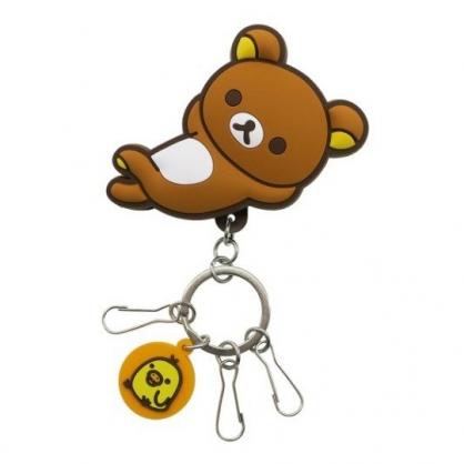 小禮堂 懶懶熊 造型矽膠夾式鑰匙圈 矽膠鑰匙夾 萬用夾 (黃 斜躺)