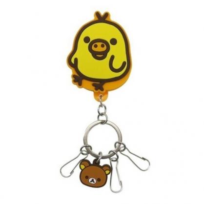 小禮堂 懶懶熊 小雞 造型矽膠夾式鑰匙圈 矽膠鑰匙夾 萬用夾 (黃 站姿)