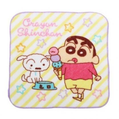 小禮堂 蠟筆小新 純棉割絨方巾 手帕 小毛巾 19x20cm (紫黃 斜紋)