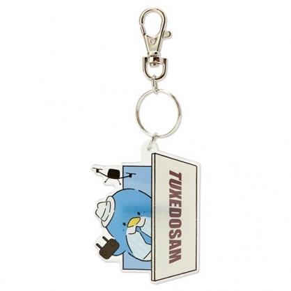 小禮堂 山姆企鵝 造型壓克力鑰匙圈 塑膠吊飾 掛飾 (藍 俏皮偵探)
