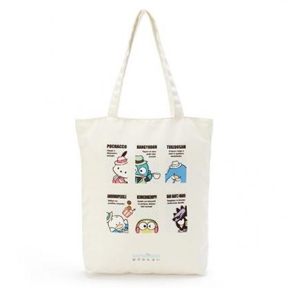 小禮堂 Sanrio大集合 直式帆布側背袋 帆布手提袋 書袋 帆布袋 (米 俏皮偵探)