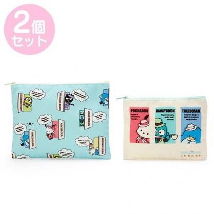 小禮堂 Sanrio大集合 方形帆布拉鍊收納包組 扁平文具袋 小物收納袋 (2入 綠 俏皮偵探)