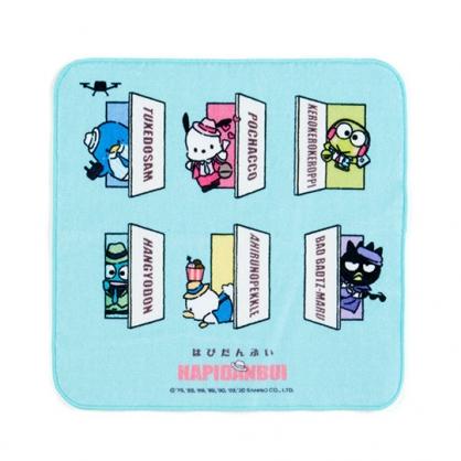小禮堂 Sanrio大集合 純棉割絨方巾 手帕 小毛巾 25x25cm (綠 俏皮偵探)
