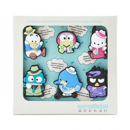 小禮堂 Sanrio大集合 造型矽膠夾子組 文具夾 造型夾 事務夾 (6入 綠 俏皮偵探)
