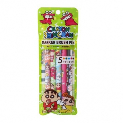 小禮堂 蠟筆小新 雙頭螢光筆組 標示筆 彩色筆 附夾鏈袋 (5入 綠 鱷魚)