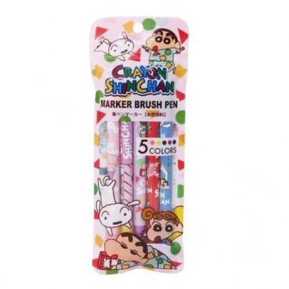 小禮堂 蠟筆小新 雙頭螢光筆組 標示筆 彩色筆 附夾鏈袋 (5入 粉 睡衣)