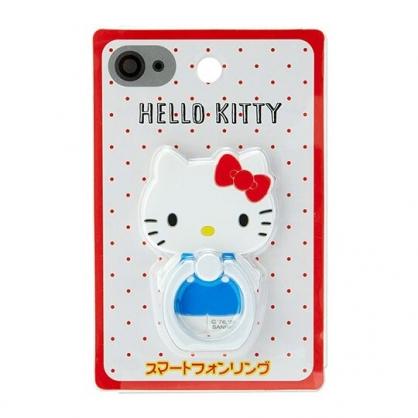 小禮堂 Hello Kitty 造型塑膠手機指環架 指環扣 手機立架 360度旋轉 (紅白 站姿)