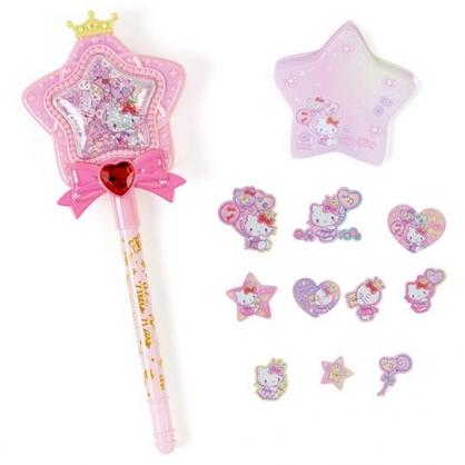 小禮堂 Hello Kitty 流沙星星造型原子筆 便條紙 貼紙 造型筆 文具組 (桃)
