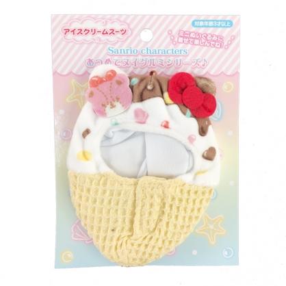 小禮堂 Hello Kitty 換裝娃娃冰淇淋睡袋 布偶睡袋 玩偶配件 (棕紅 熱帶沙灘)