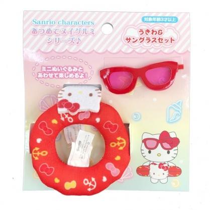 小禮堂 Hello Kitty 換裝娃娃泳圈墨鏡組 布偶泳圈 玩偶配件 (紅 熱帶沙灘)