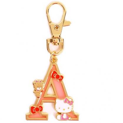 小禮堂 Hello Kitty 金屬字母鑰匙圈 壓克力吊飾 字母掛飾 (粉金 A)