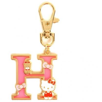 小禮堂 Hello Kitty 金屬字母鑰匙圈 壓克力吊飾 字母掛飾 (桃金 H)