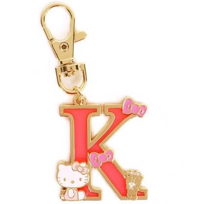 小禮堂 Hello Kitty 金屬字母鑰匙圈 壓克力吊飾 字母掛飾 (紅金 K)