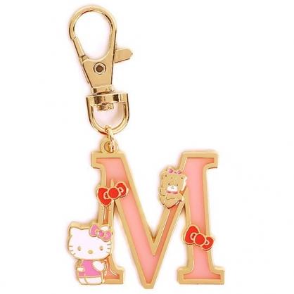 小禮堂 Hello Kitty 金屬字母鑰匙圈 壓克力吊飾 字母掛飾 (粉金 M)