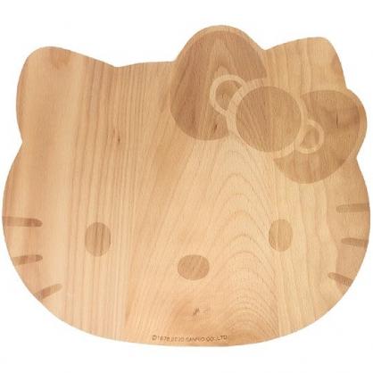 小禮堂 Hello Kitty 大臉造型木質砧板 切菜板 隔熱墊 木托盤 (淺棕)