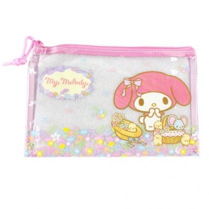 小禮堂 美樂蒂 防水扁平收納袋 文具袋 鉛筆袋 萬用資料袋 (粉 花朵)