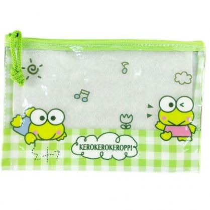 小禮堂 大眼蛙 防水扁平收納袋 文具袋 鉛筆袋 萬用資料袋 (綠 格紋)