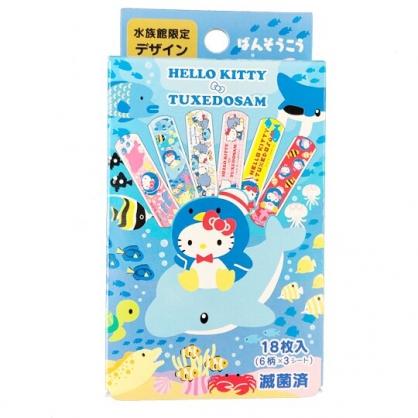 小禮堂 Hello Kitty 山姆企鵝 日製 盒裝OK繃 貼布 繃帶 (藍 海底)