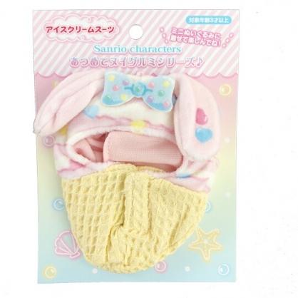 小禮堂 美樂蒂 換裝娃娃冰淇淋睡袋 布偶睡袋 玩偶配件 (棕粉 熱帶沙灘)