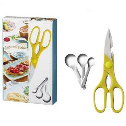 小禮堂 多功能廚房剪刀量匙組 料理剪刀 開瓶器 調味匙 (綠銀)