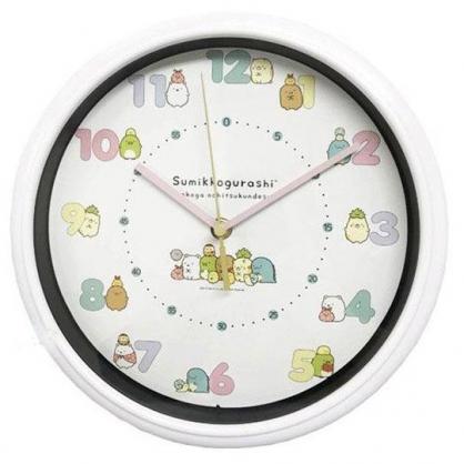 小禮堂 角落生物 圓形壁掛鐘 壁鐘 時鐘 (粉 排坐)