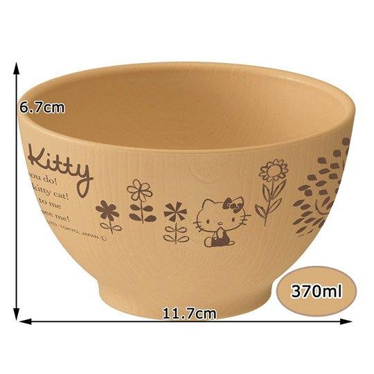 小禮堂 Hello Kitty 日製 仿木紋塑膠碗 微波碗 飯碗 370ml (棕 花朵)