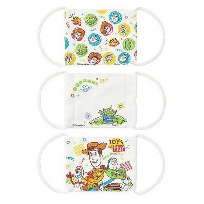 小禮堂 迪士尼 玩具總動員 兒童平面布口罩 純棉口罩 平面口罩 (3入 白綠 角色)